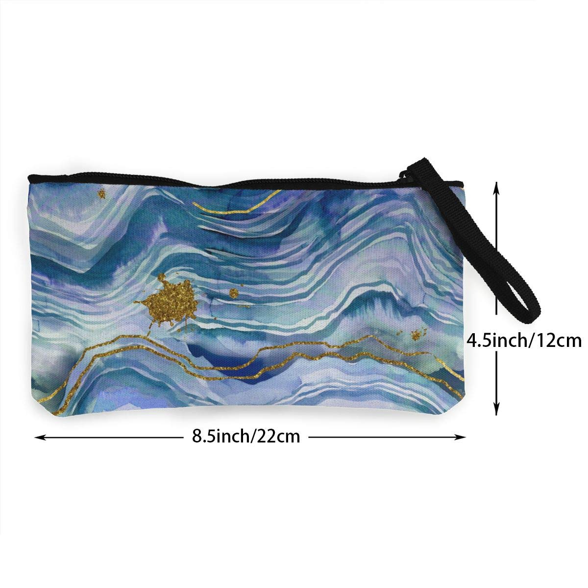 Blue And Green Geode Pattern Canvas Change Coin Purse Small Cute Wallet Bag With Zip