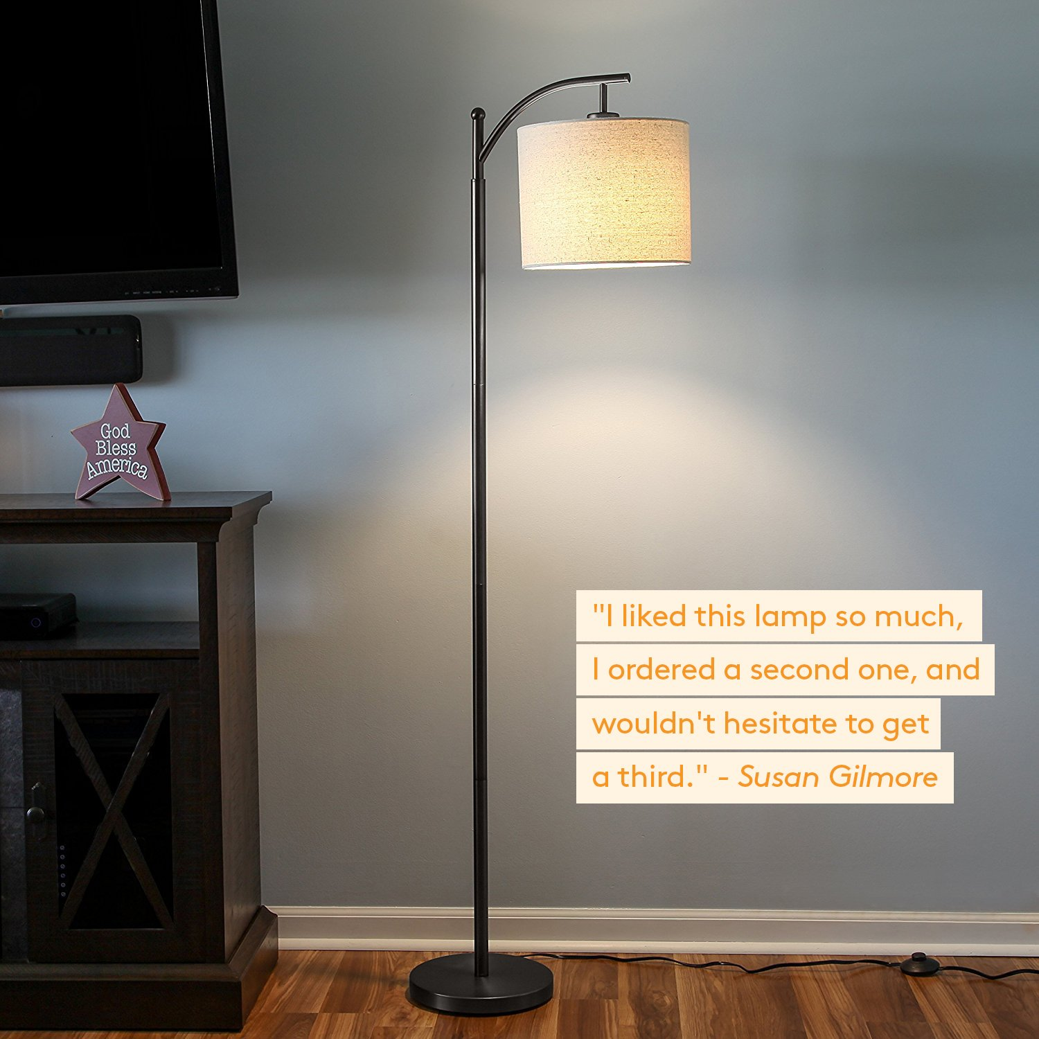 brightech montage led floor lamp classic arc floor lamp with hanging lamp shade tall industrial uplight lamp for living room family room - Floor Hanging Lamp