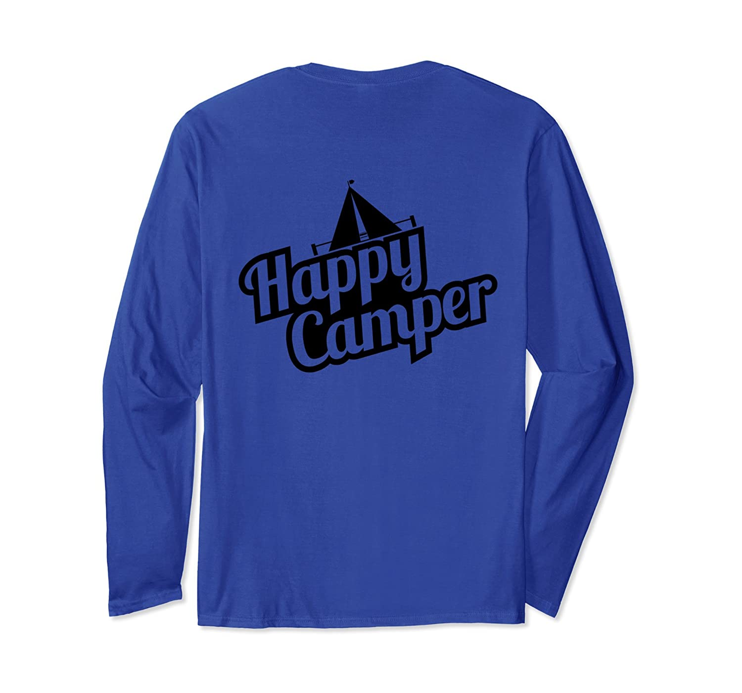 Back Print Happy Camper Outdoor Camping Long Sleeve Shirt-Colonhue