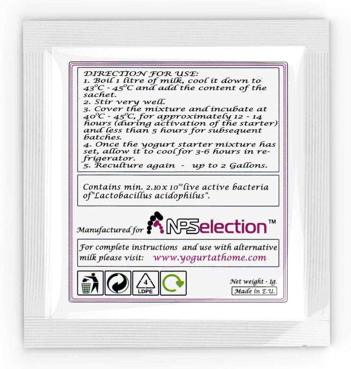NPSelection Cultivo de Yogur acidophilus Puro – Paquete de 3 bolsitas de Cultivo liofilizado para Preparar Yogur auténtico y Simple: Amazon.es: Hogar