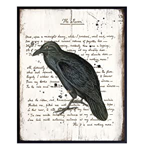 Rustic Edgar Allan Poe The Raven Poem Wall Art - Creepy Goth Gothic Home Decor for Bathroom, Bedroom, Living Room - Shabby Chic Vintage Decoration or Gift - 8x10 UNFRAMED Retro Poster Print