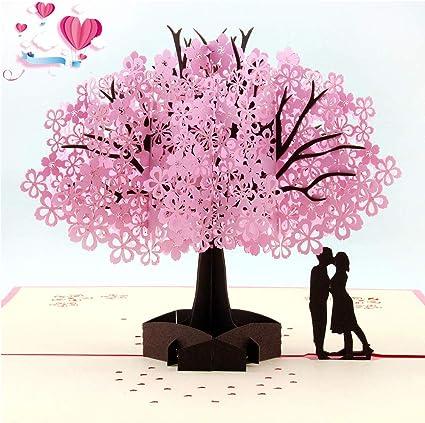 Beslime Carte De Voeux 3d Carte Pop Up Carte Anniversaire Marriage Romantique Sakura Carte Carte Pop Up Carte De Fleur Amazon Fr Fournitures De Bureau