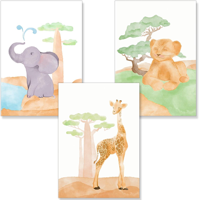 PREMYO Cuadros Infantiles para Habitaci/ón Ni/ña Ni/ños 3 P/óster Animales DIN A4 L/áminas Decorativas para Enmarcar
