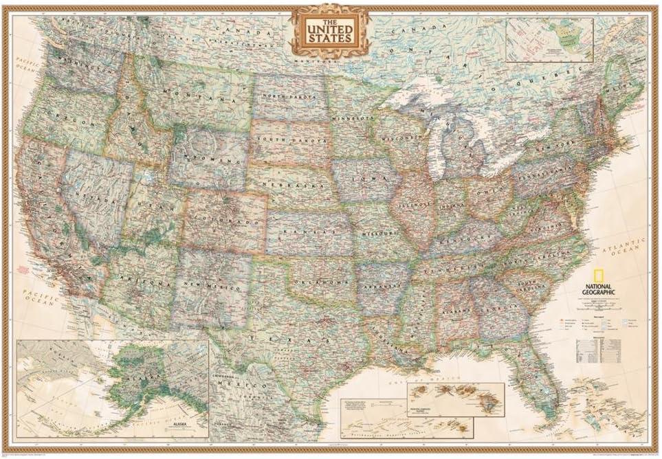 enlarged map of the united states Amazon.: National Geographic   United States Executive Map