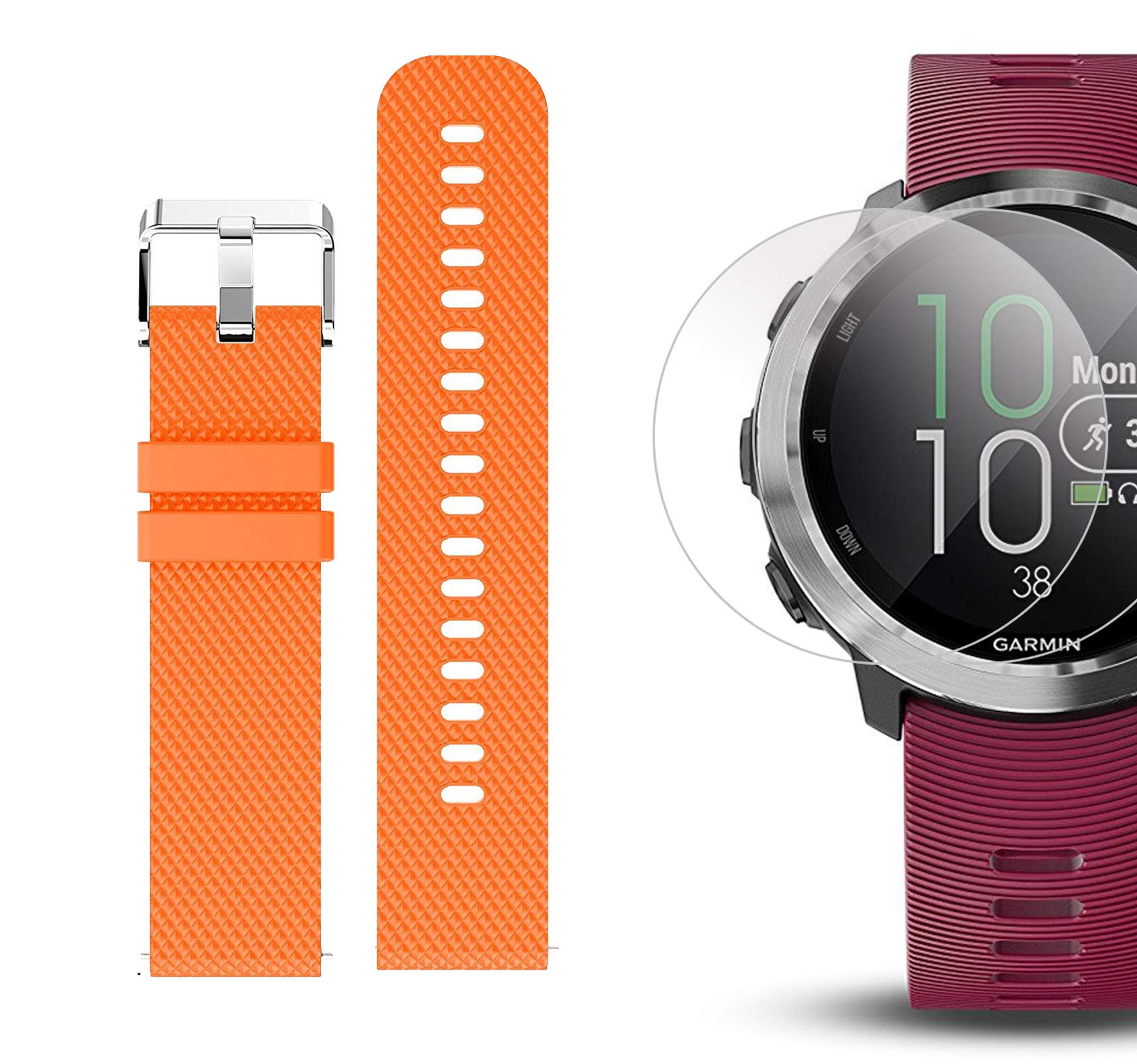 Garmin Forerunner 645 Music Bundle with Extra Band & HD Screen Protector Film (x4) | Running GPS Watch, Wrist HR, Music & Spotify, Garmin Pay (Cerise + Music, Orange) by PlayBetter (Image #6)