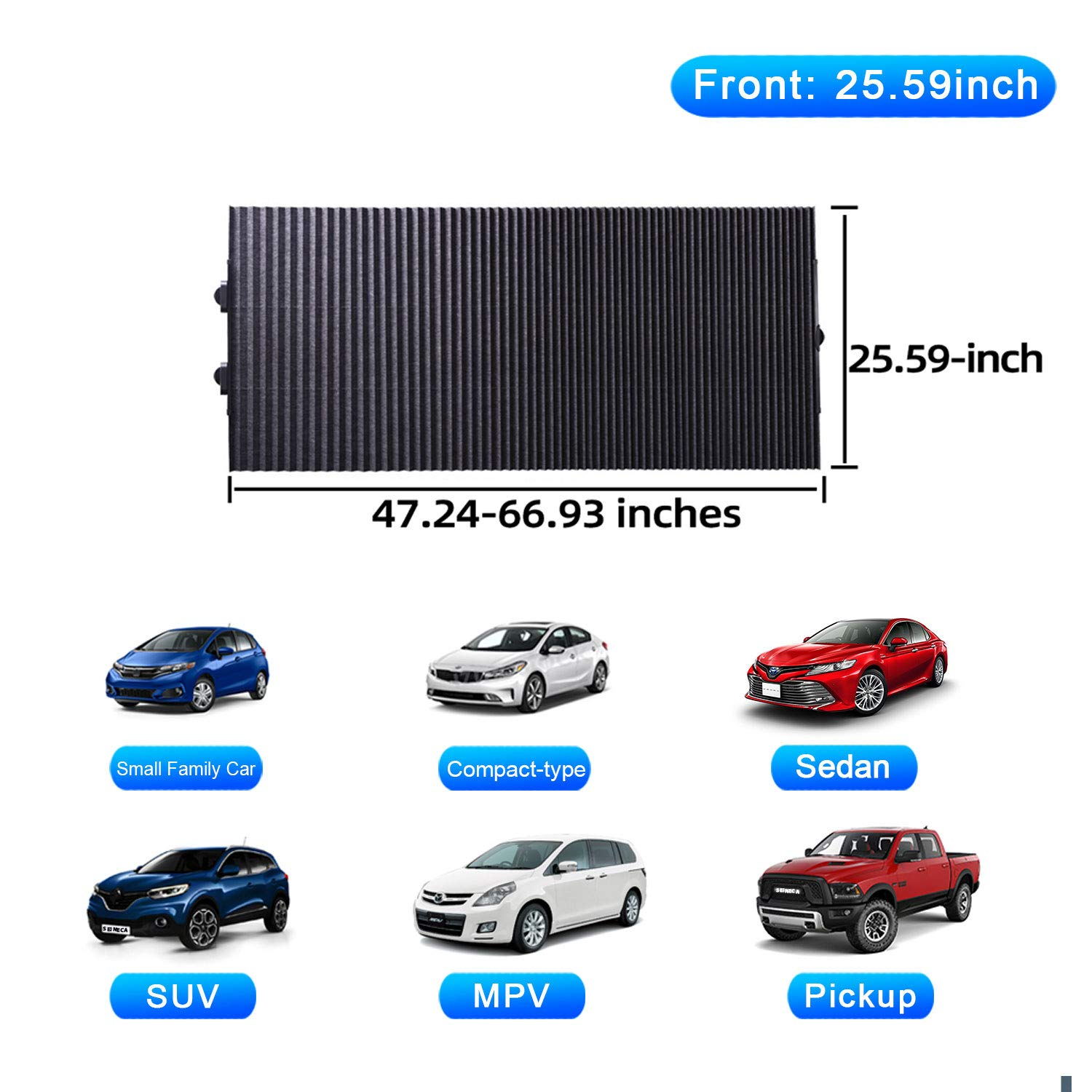 SEINECA Car Retractable Sun Shade with UV Rays Protection for SUV MPV Truck Windshield Upgrade Automatic Window Foldable Block Sunshade Visor Front Sun shade-31.50inch