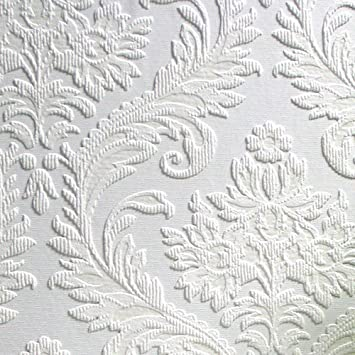 Brewster RD80027 Anaglypta Paintable Large Traditional Damask Wallpaper,  21 Inch By 396 Inch