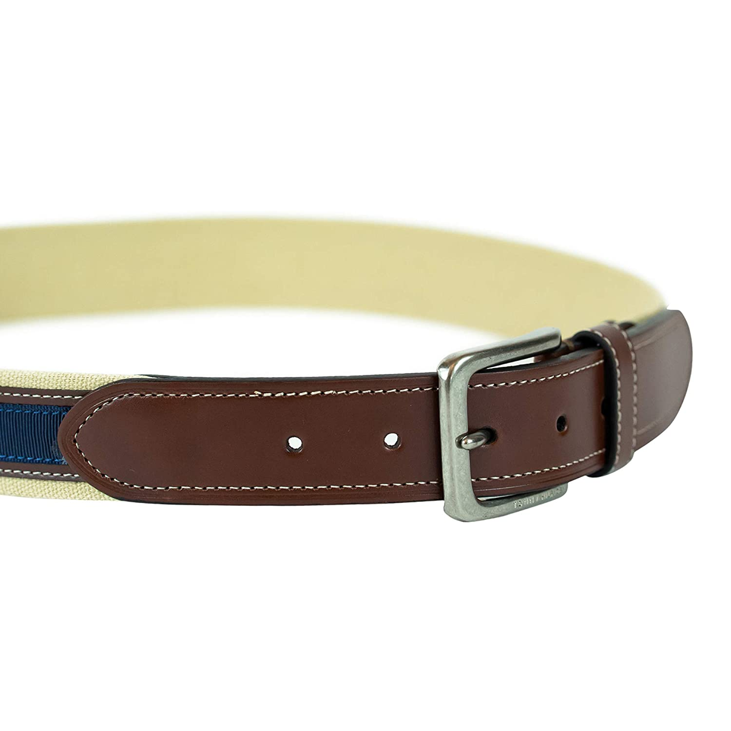 Tommy Hilfiger Mens Ribbon Inlay Belt Fabric Belt with Single Prong Buckle