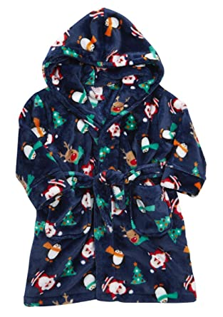 Baby Boys Girls Xmas Santa Penguin Hooded Fleece Bath Robe Novelty Dressing  Gown  Amazon.co.uk  Clothing 20025c20b