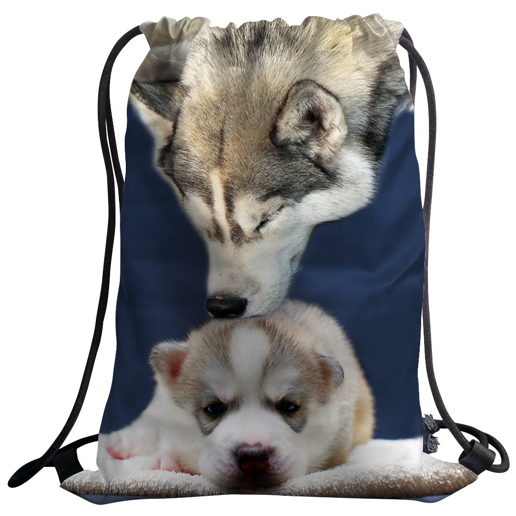 well-wreapped SXCHEN Gym Bag Sack Drawstring Sports Backpack Husky Kiss Baby Love Dogs