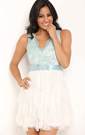 Deb Junior Short Prom Dress with Lace Bodice and Tendril Skirt Dusty Blue 13