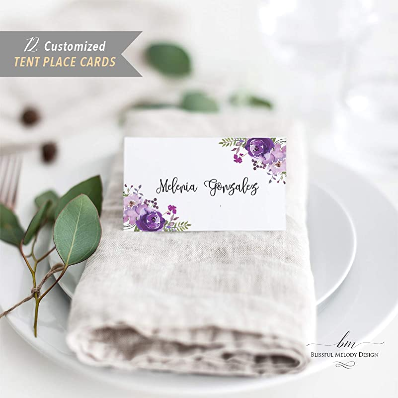 Spring Purple Wedding Placecards DEPOSIT Graceful Botanic Tented Placecard v4 Floral Place Setting Card Rustic Wedding Reception