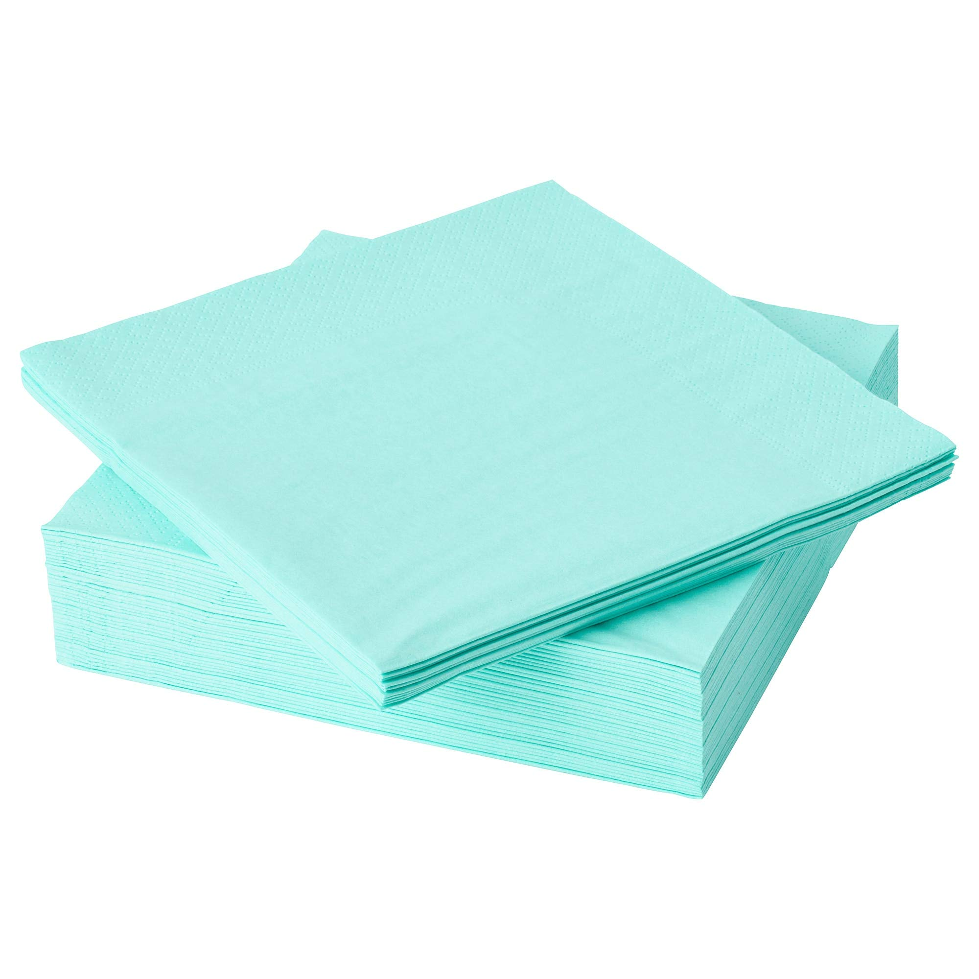 IKEA FANTASTISK High Absorbent Paper Napkin, Light Turquoise (100)