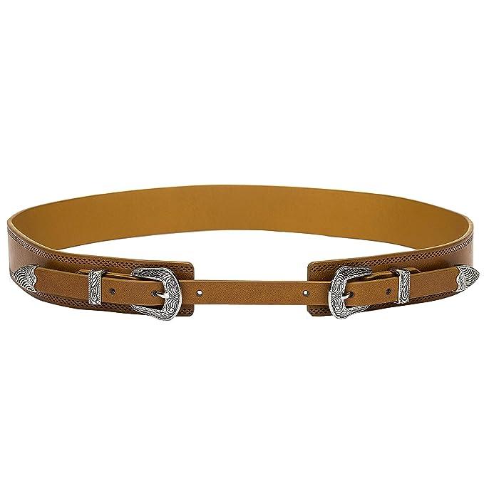 741eff4cf3182 Tanpie Western Leather Belt for Women Boho Waist Belt with Designer Metal  Double Buckle