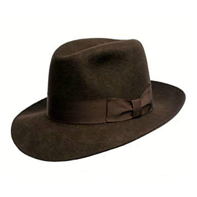 ad54697a1e0 Cotswold Country Hats Fedora Hat - Mens Unisex Made to Last. 100% Wool. Indiana  Jones Style. Wide Brim. Brown. Luxury Lining. Grosgrain Band.