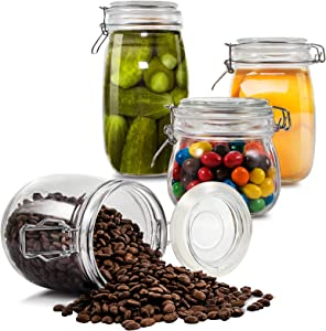 Glass Jars Set 4 Pieces with Airtight Lids Kitchen Preserving Storage Glass Canisters Bottles for Cereal Cookies Sugar Coffee Pickles