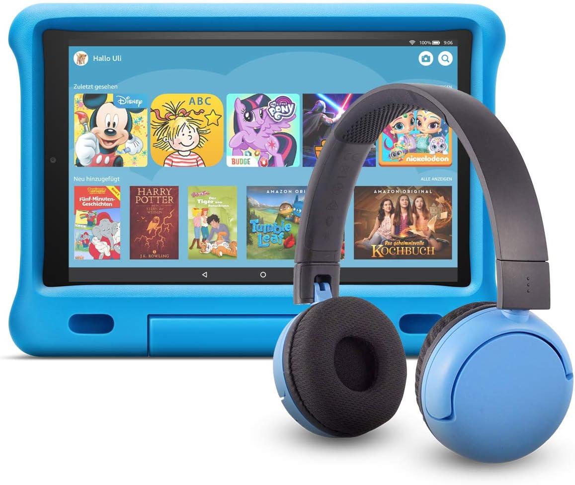 Fire Hd 10 Kids Edition Tablet 32 Gb Blaue Kindgerechte Hülle Mit Poptime Bluetooth Headset Altersklasse 8 15 Jahre Amazon Devices