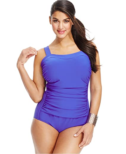 c4a5e3b8e8c INC International Concepts Plus-Size Ruched One-Piece Swimsuit at Amazon  Women's Clothing store: