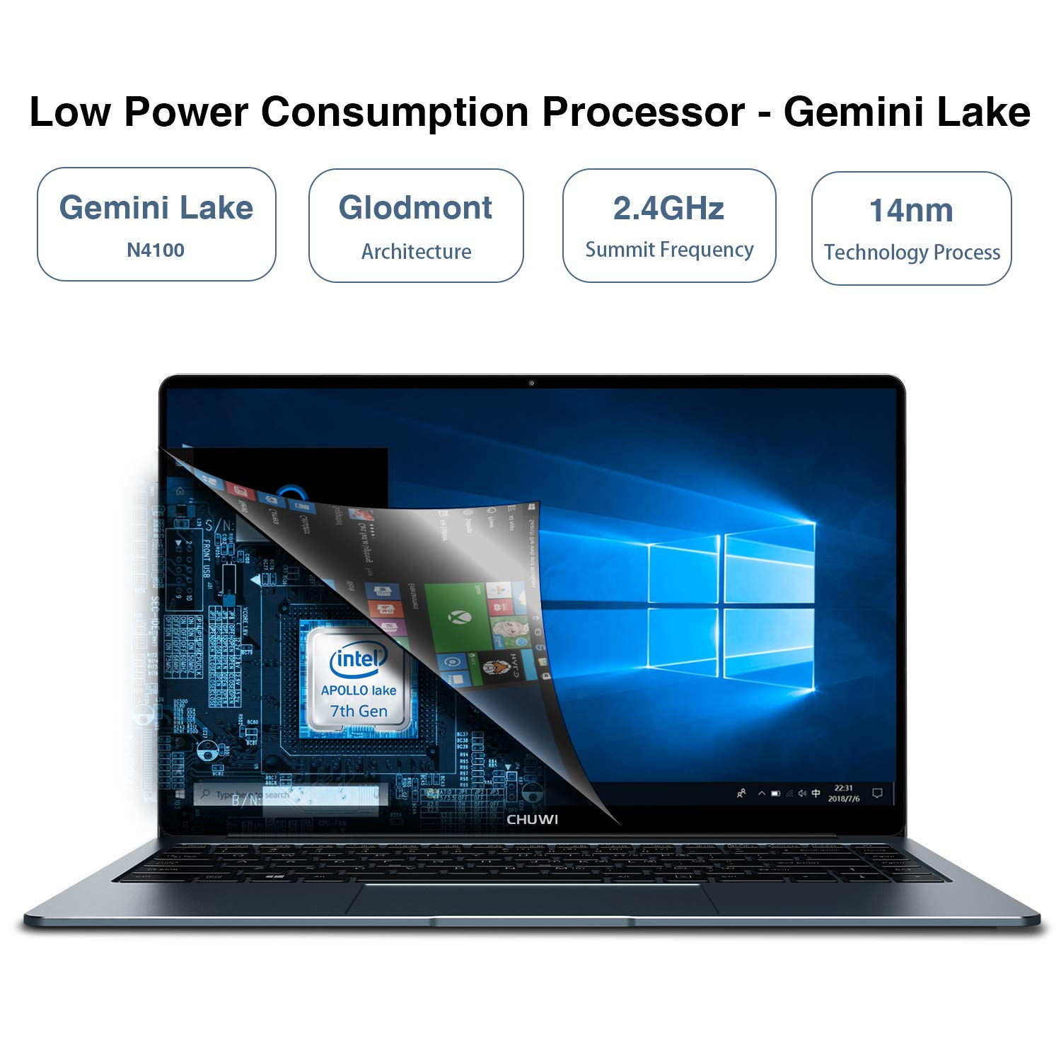 CHUWI Ordenador Portatil Lapbook Pro Ultrabook 14 Windows 10 Intel ...