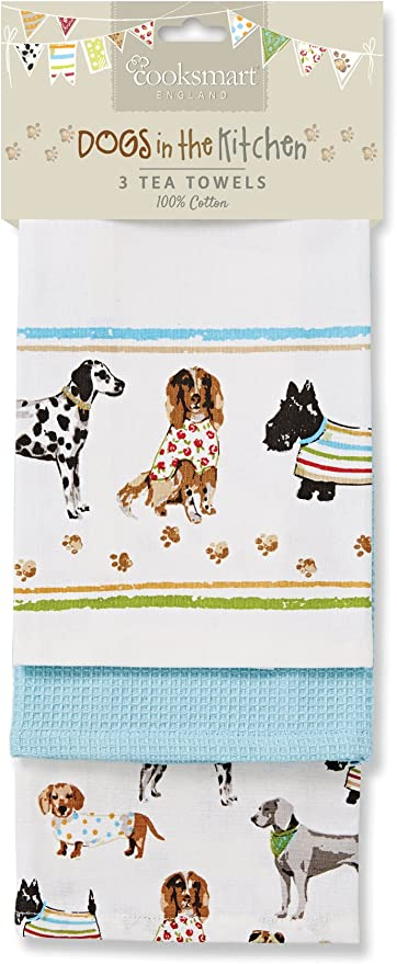 Cooksmart Dogs In The Kitchen Tea Towel Pack Of Three Tea Towels