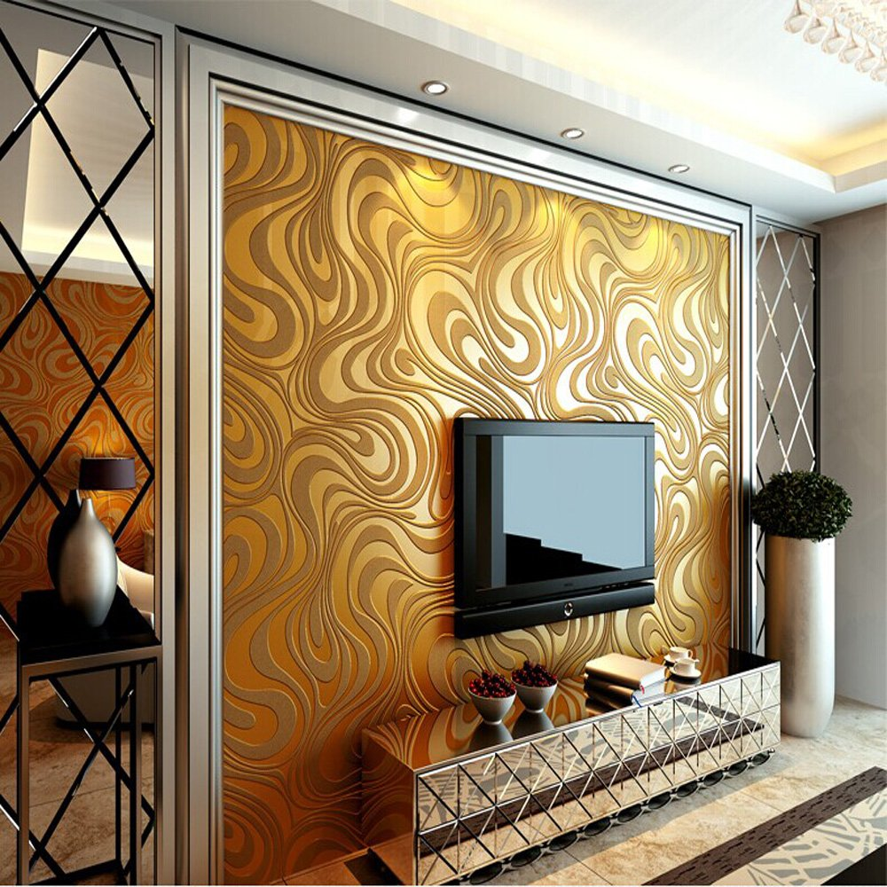 10M Modern Luxury Abstract Curve 3d Wallpaper Roll Mural Paper Parede Flocking for Striped Gold Color 0.7m8.4m=5.88SQM