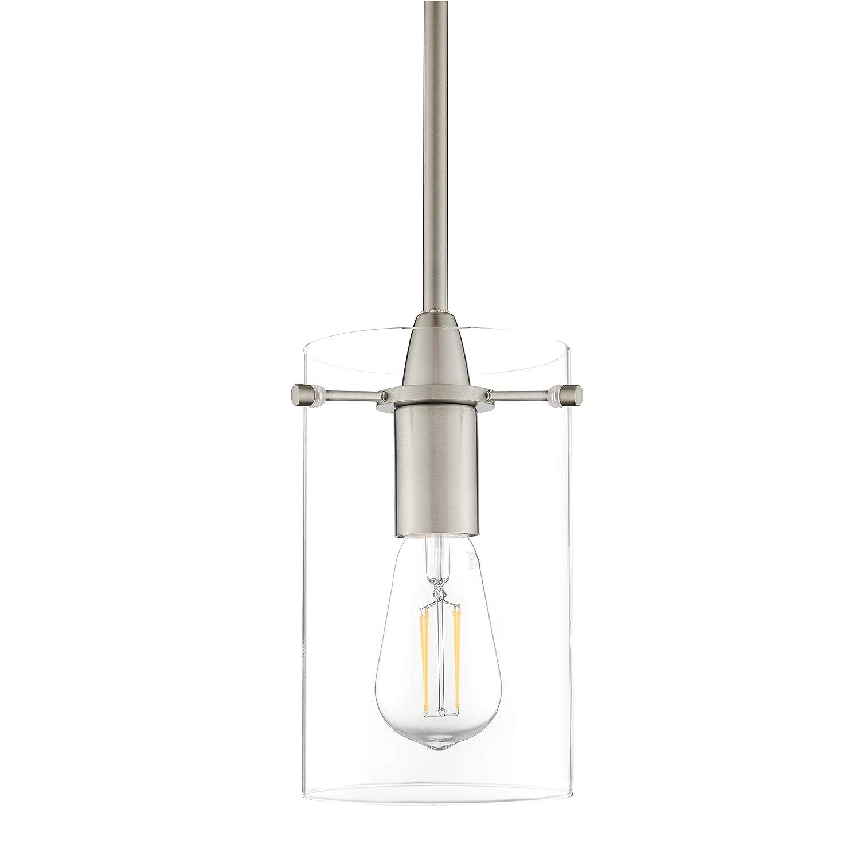 Effimero Medium Hanging Pendant Light | Brushed Nickel Kitchen Island Light, Clear Glass Shade LL-P313-BN