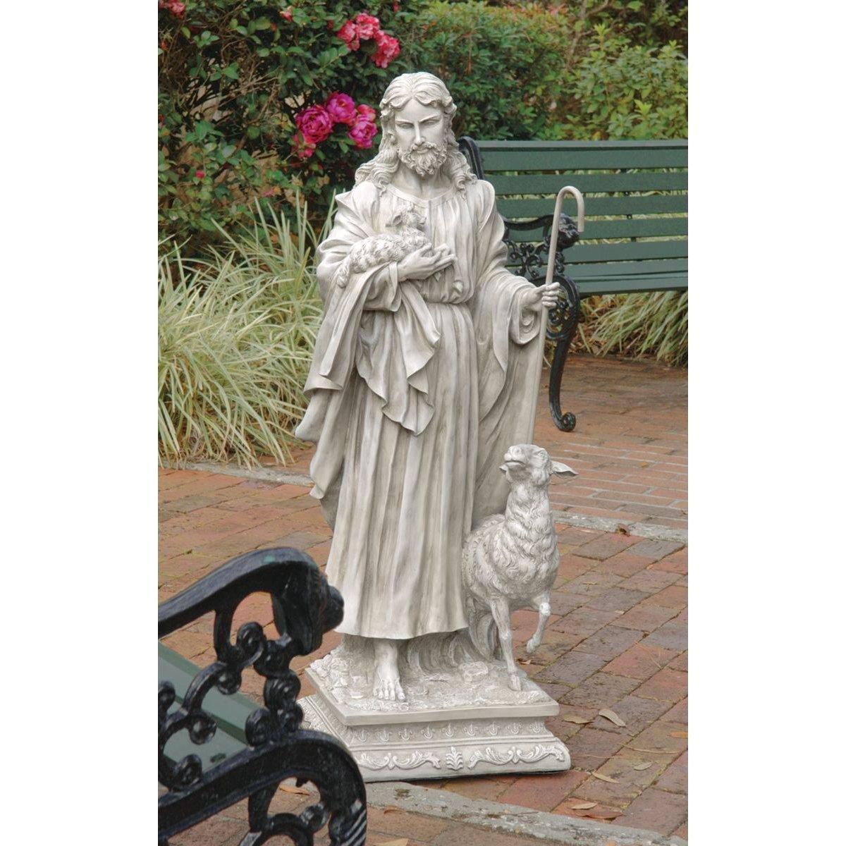 Amazon.com : Design Toscano Jesus The Good Shepherd Garden Statue Size:  Large : Outdoor Statues : Garden U0026 Outdoor