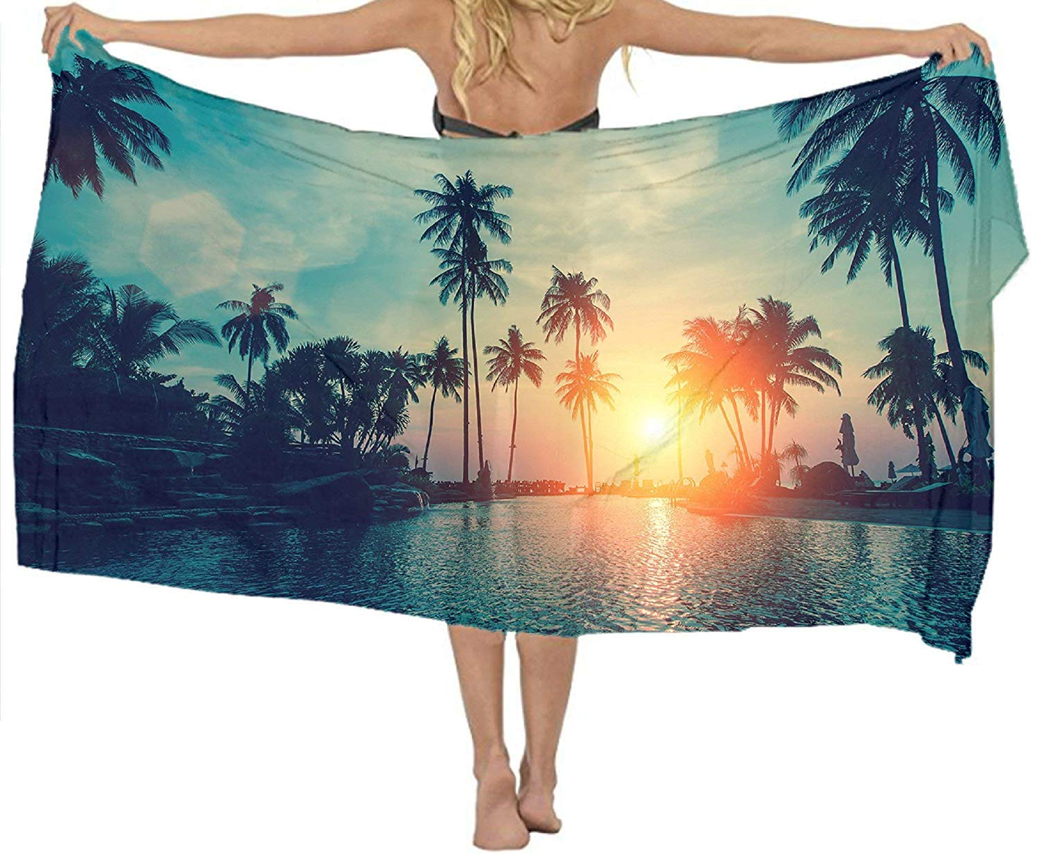 Yamenny Classic CuteSunset Palm Trees Tropical Beach Shawl and Comfort Wrap for Women&Girl,Non-Toxic Decor