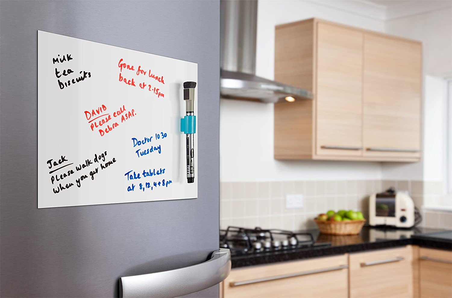 Exceptional Whitestrawberry A4 MAGNETIC WHITEBOARD SHEET MEMO BOARD FOR KITCHEN FRIDGE  DOOR With Magnetic Marker And Blue Magnetic Marker Holder .
