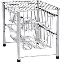 Callas Stackable 2-Tier Stainless Steel Sliding Basket Drawer Storage Organizer, Silver,