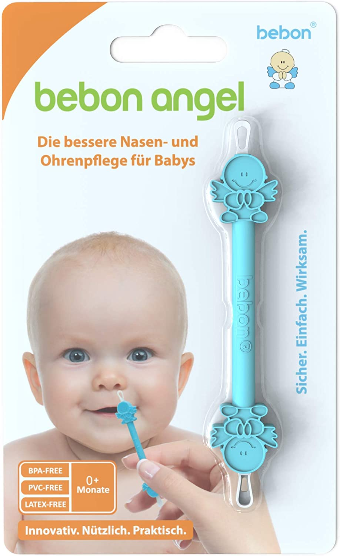 Bebon BEB2001 Angel - El mejor limpiador nasal y de orejas para bebés - visible más eficaz que el aspirador nasal/aspirador nasal, color azul
