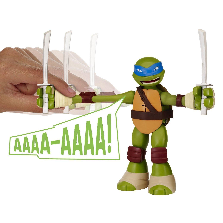 Playmates Year 2014 Nickelodeon Teenage Mutant Ninja Turtles 8-1/2 Inch Tall Electronic Action Figure - STRETCH N SHOUT LEONARDO with 2 Katana ...