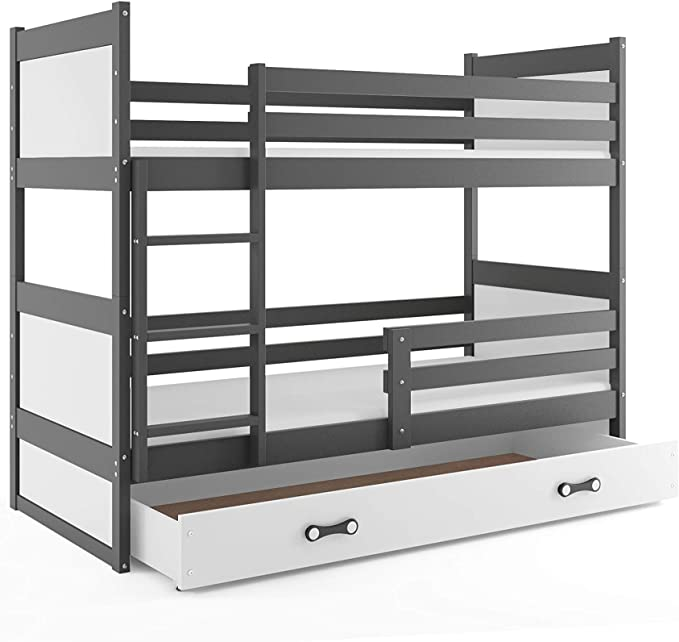 Litera infantil doble (2 camas) 190x90, RICO, color gris, cajón blanco, con somieres y colchones de espuma GRATIS