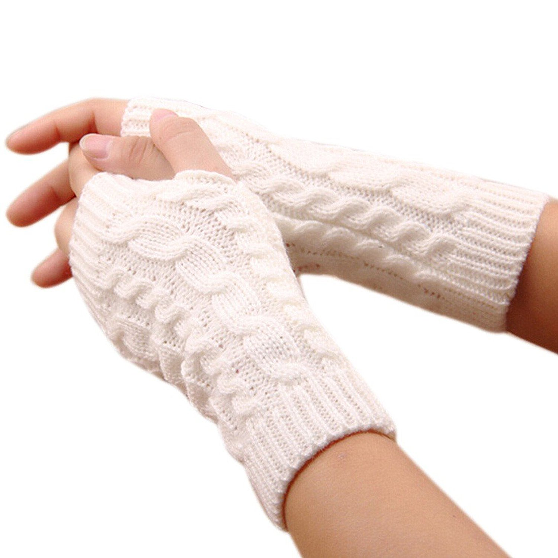 FZAY Trendy Knitted Arm Fingerless Winter Gloves Unisex Soft Warm Mitten (Coffee)