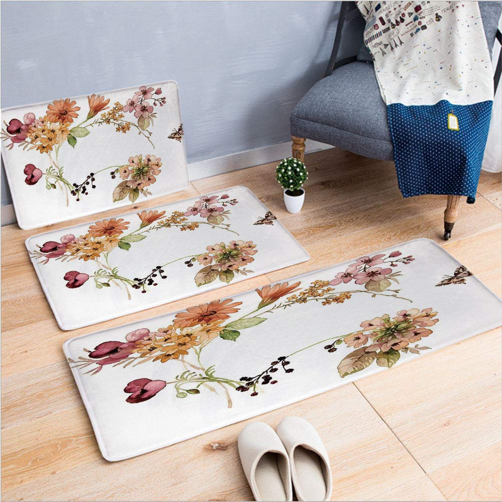"3 Piece Non-Slip Doormat 3D Print for Door mat Living Room Kitchen Absorbent Kitchen mat,Watercolors Gerbera Daffodil Poppy Daisy,15.7""x23.6""by23.6""x23.6""by15.7""x39.4"",Coffee Table Carpet Window Mat"