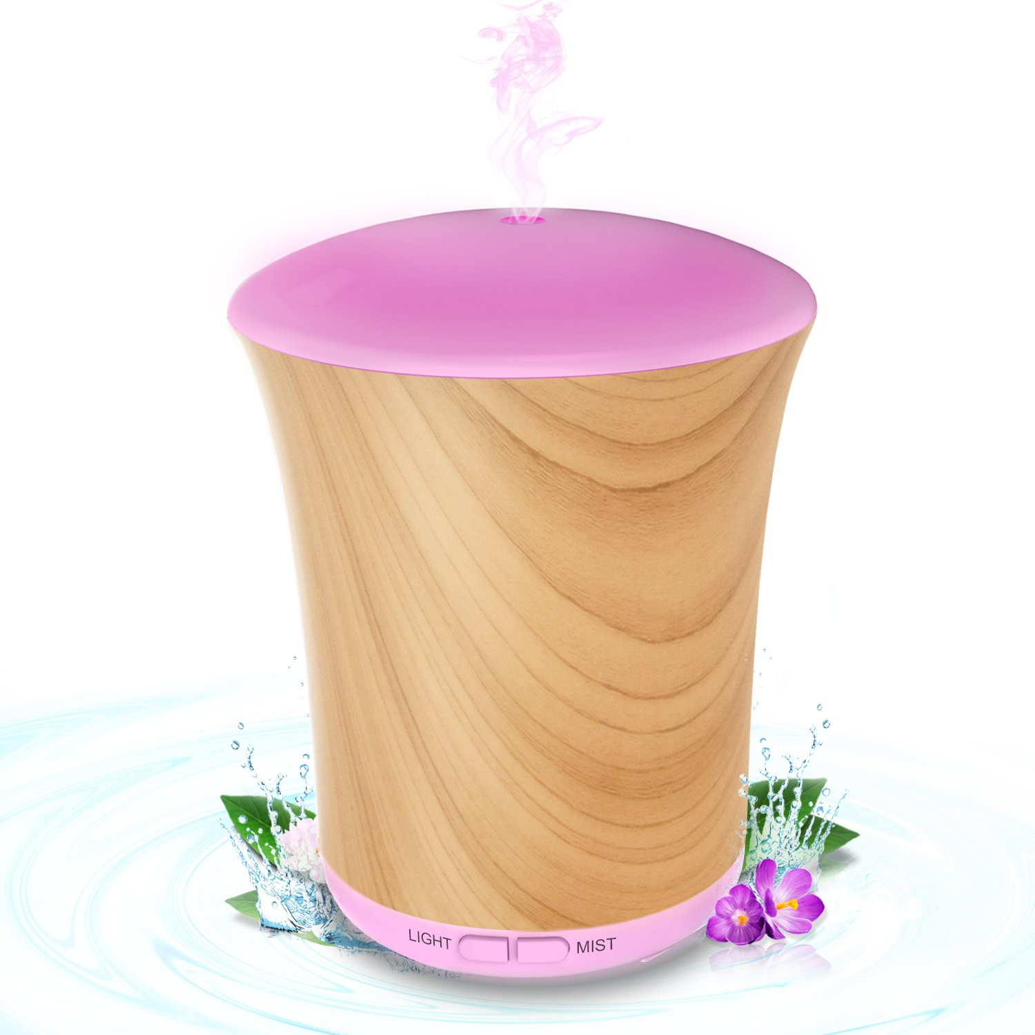 Diffusers for Essential Oils , 200ml Aromatherapy Essential Oil Diffuser Cool Mist Humidifier With 8 Colors LED Lights, Waterless Auto Shut-off And 4 Timer Settings Romantic Gifts Neloodony-Wood Grain