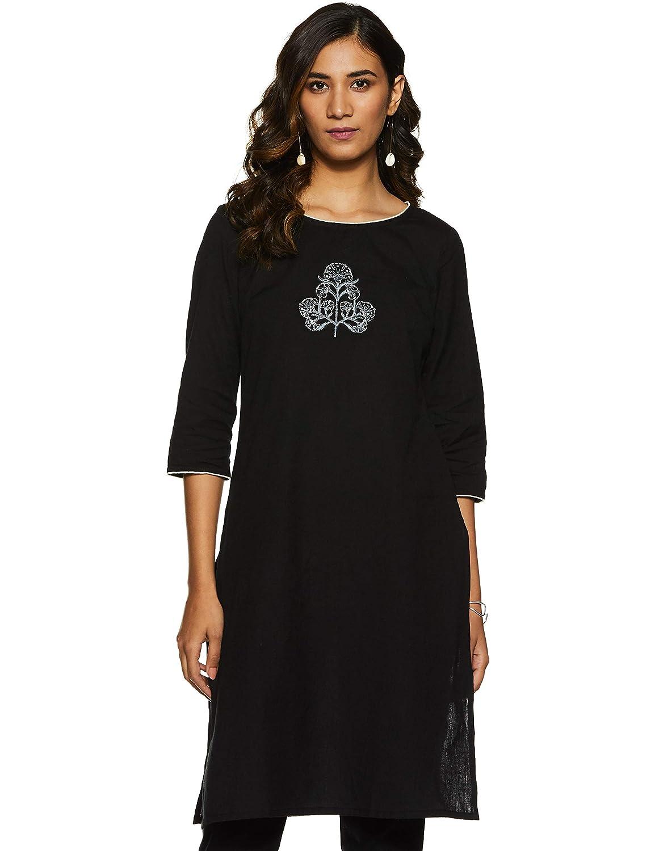 Black Color Cotton A-Line Kurti
