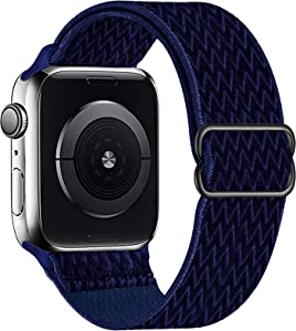 OHCBOOGIE Stretchy Solo Loop Strap Compatible with Apple Watch Bands 38mm 40mm 42mm 44mm ,Adjustable Stretch Braided Sport Elastics Weave Nylon Women Men Wristband Compatible with iWatch Series 6/5/4/3/2/1 SE,Midnight Blue,38/40mm
