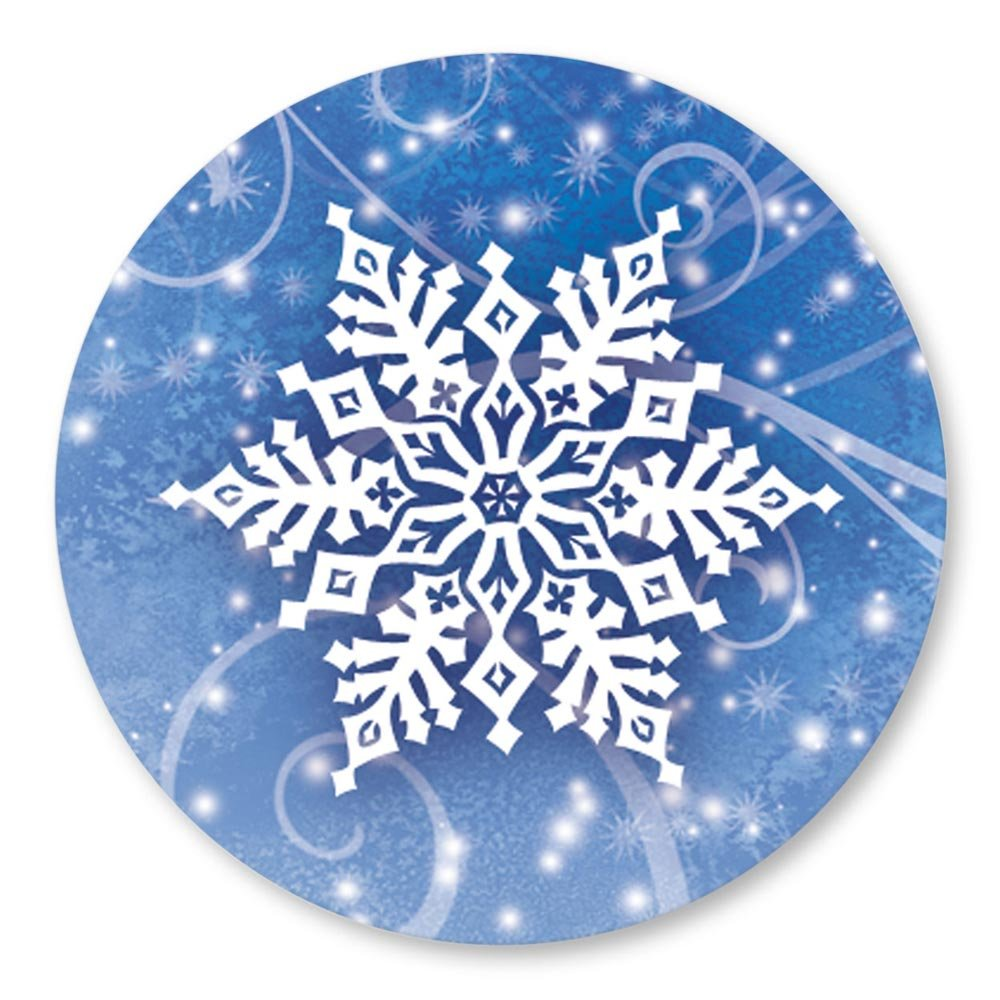 White Snowflake on Blue Holiday Seals, 140 Count
