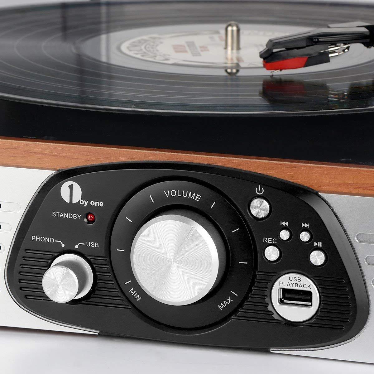 Stereo Giradischi 1 BY ONE con Cinghia a 3 Velocit/à e Altoparlante Integrato Lettore Multiplo con Conversione da Vinili a MP3 USB per Riproduzione MP3 Output RCA Connettore Phono Legno