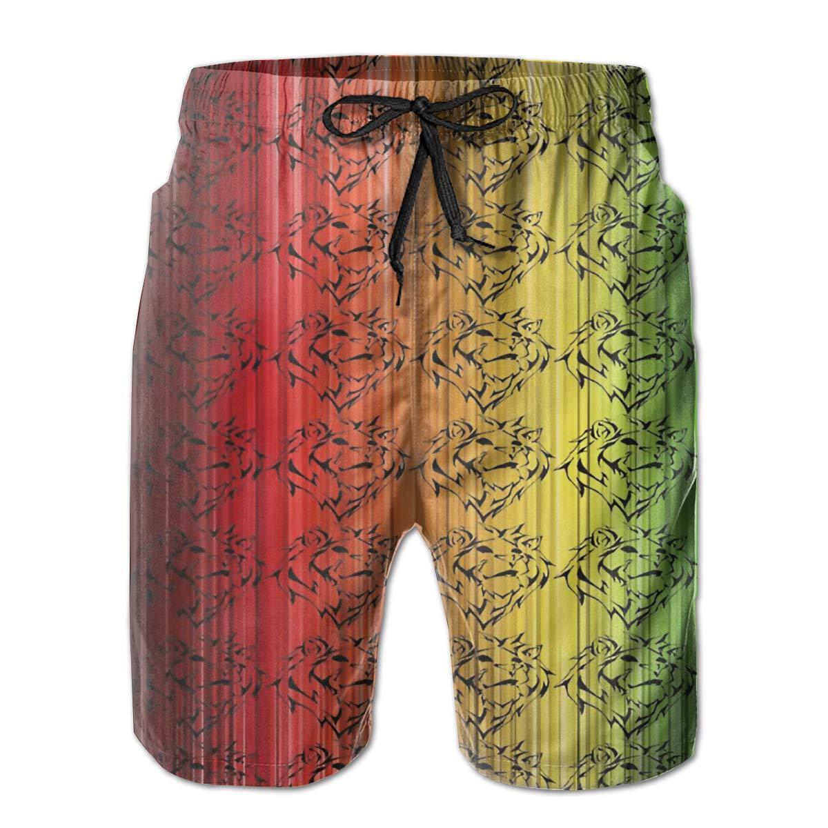 Rasta Lion Head Mens Swim Trunks Board Beachwear Casual Beach Shorts for Men with Mesh Lining