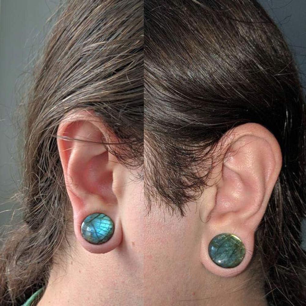 CHUANCI Pair Labradorite Stone Ear Flesh Tunnel Plugs Double Flared Plug Glow Stone Ear Gauges Expander