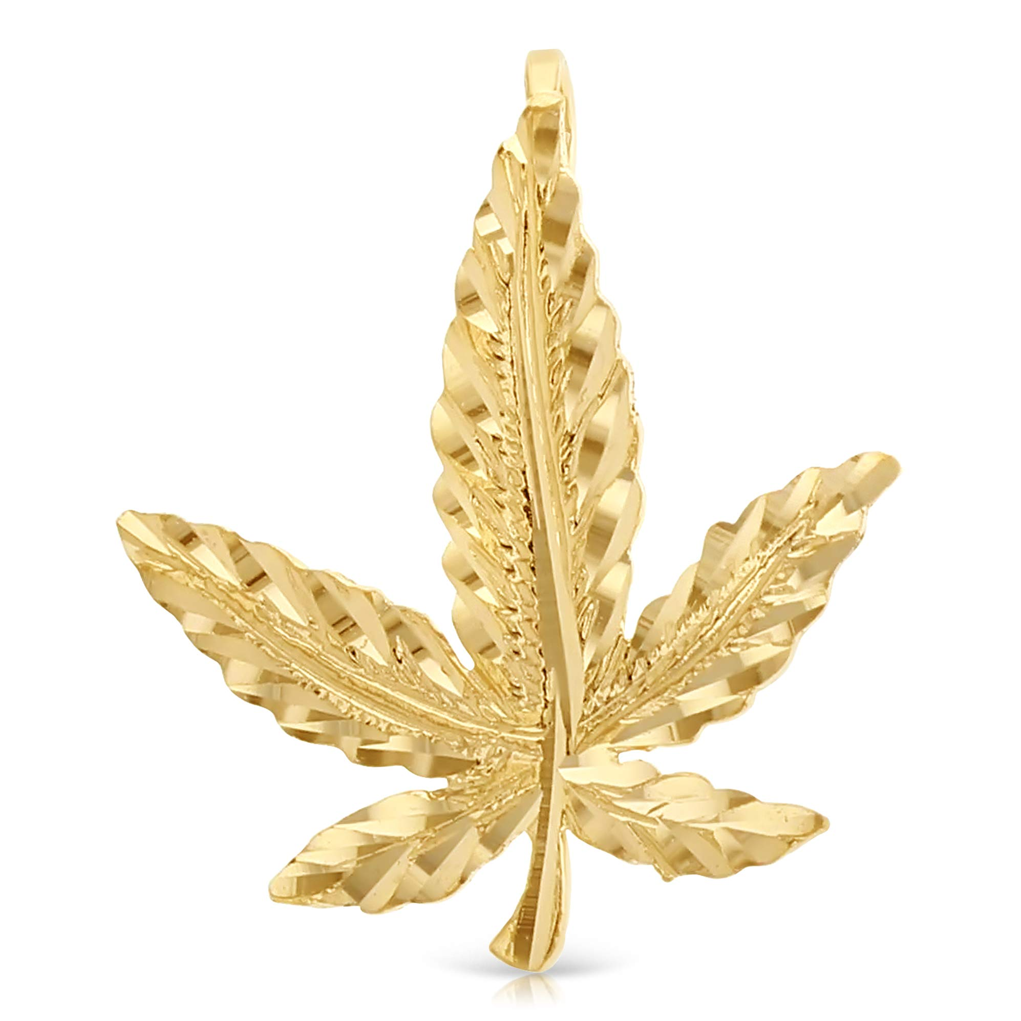 Ioka – 14K Yellow Gold Marijuana Leaf Charm Pendant For Necklace or Chain