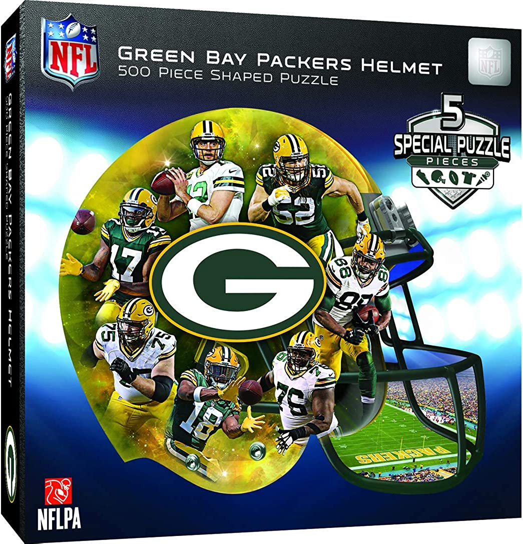 Amazon Com Masterpieces Green Bay Packers 500pc Helmet Shaped Puzzle Clothing