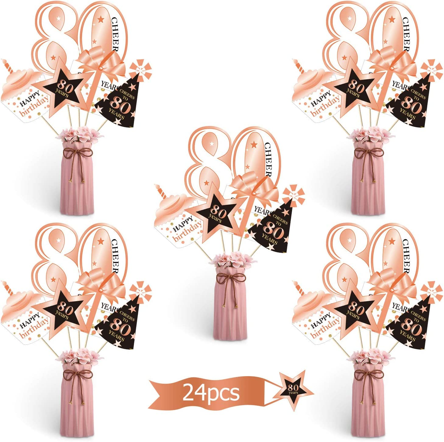 Rose Gold Glitz 80th Birthday Party  Age 80 Tableware Decorations Balloons