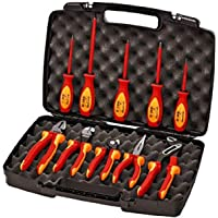 Knipex 989830US 10 -Piece 1000V Insulated Pliers, Cutters, and Screwdriver Industrial Tool Set