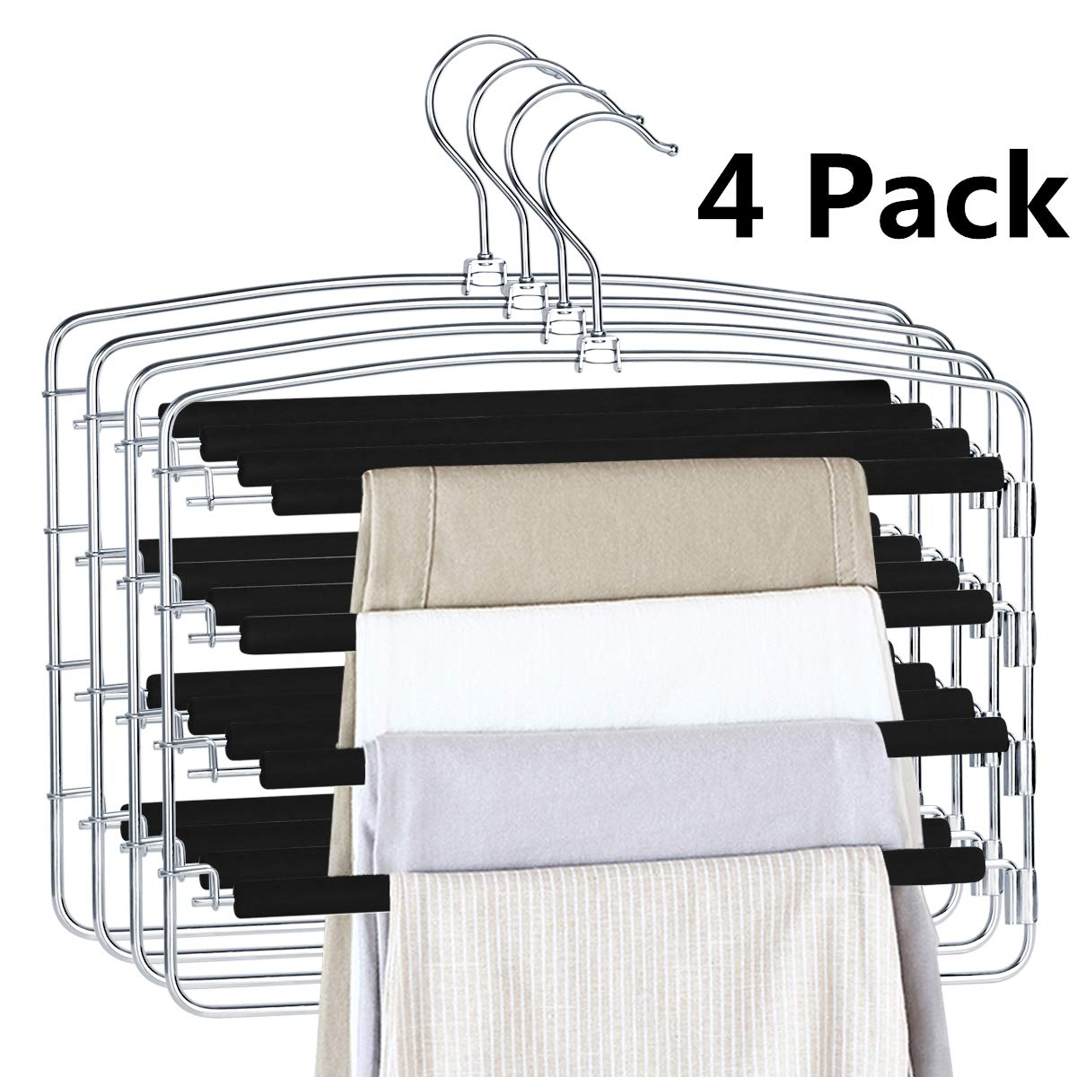 HOMEIDEAS Non Slip Pants Hangers Space Saving Pant Hangers Multi Layers Trousers Hangers Stainless Steel Slack Hangers with Swing Arm, Pack of 4 by HOMEIDEAS