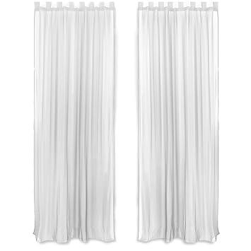 songmics cortinas de gasa visillo de gasa decorativo anillas integradas polister x