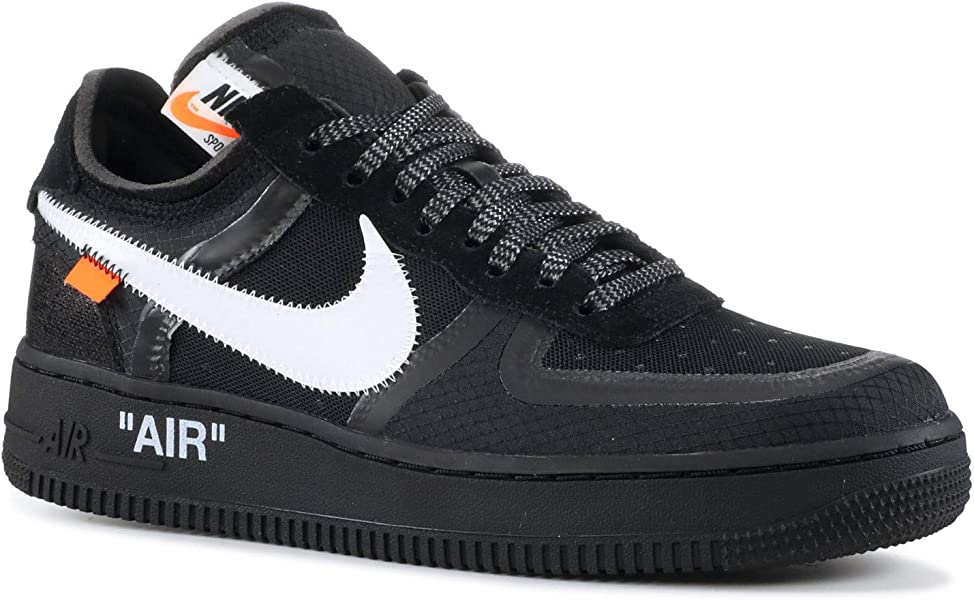 fffbb5df34e4 Nike Mens The 10 Air Force 1 Low Black Black White-Cone Nylon Size