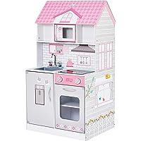 Teamson Kids Wonderland Ariel 2-in-1 Doll House & Play Kitchen (Pink / Grey)